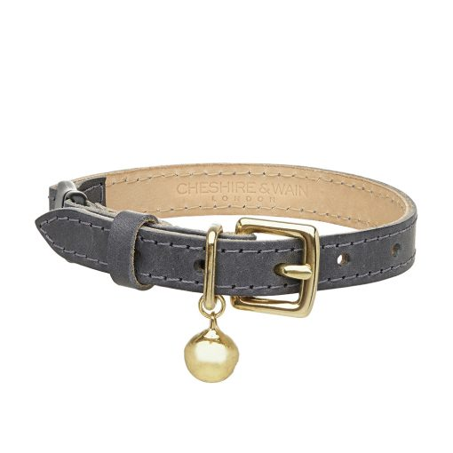 Cheshire and Wain Luxury Grey Leather Cat Collar
