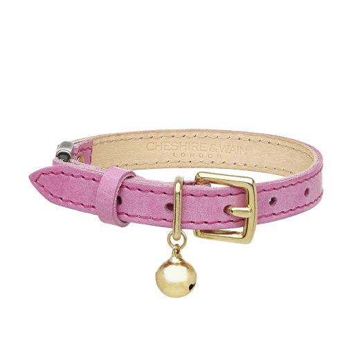 Cheshire and Wain Luxury Pink Leather Cat Collar
