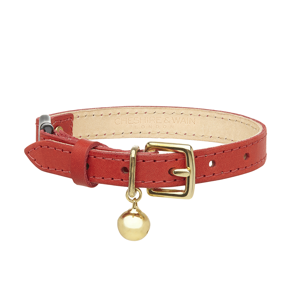 Cheshire and Wain Luxury Red Leather Cat Collar