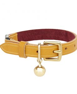 Cheshire and Wain Luxury Bernie Heritage Yellow Leather Cat Collar