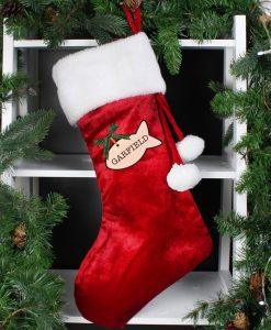 Personalised Red Velvet Cat Christmas Stocking