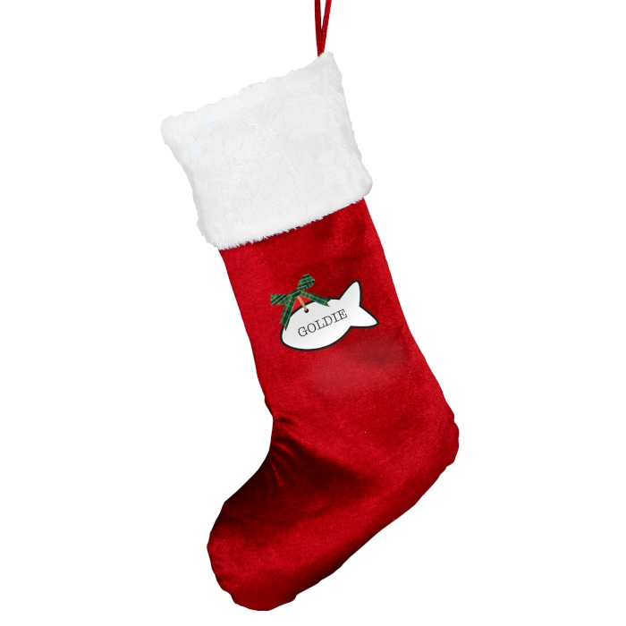 Personalised Red Velvet Cat Christmas Stocking