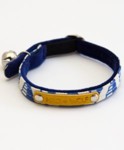 Hiro and Wolf Geo Blue Luxury Cat Collar UK