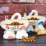 Personalised Spotty Cat Legs Bowls