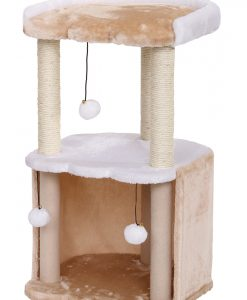 Cat Circus 72cm 2 Tier Plush/Sisal Scratcher Beige & Cream
