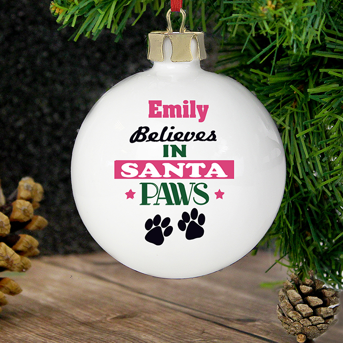 Personalised Santa Paws Bauble