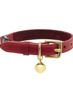 CHESTER - RED LEATHER CAT COLLAR - LUXURY