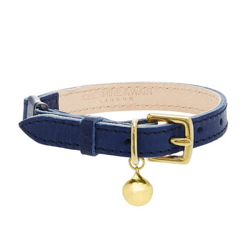 Cheshire Wain navy blue luxury leather cat collar