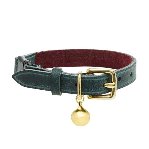 RIGBY - GREEN LEATHER CAT COLLAR - LUXURY copy