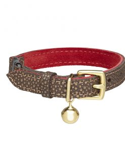 Red & Bronze cheshire and wain cat collar