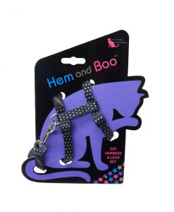 Hem and Boo Black Spotty Cat Harness & Lead Set