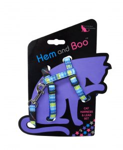 Hem and Boo Blue Zig Zag Cat Harness & Lead Set
