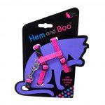 Hem and Boo Pink Spotty Cat Harness & Lead Set