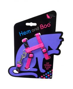 Hem and Boo Pink Spotty Cat Harness & Lead Set