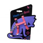 Hem and Boo Red Spotty Cat Harness & Lead Set