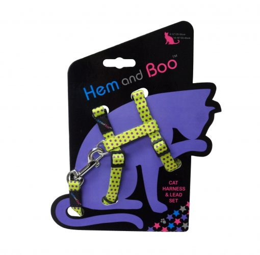 Hem and Boo Yellow Spotty Cat Harness & Lead Set
