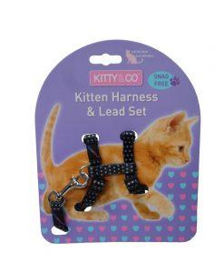 Kitty & Co Black Spotty Kitten Harness & Lead Set