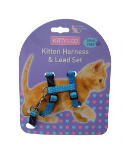 Kitty & Co Blue Spotty Kitten Harness & Lead Set