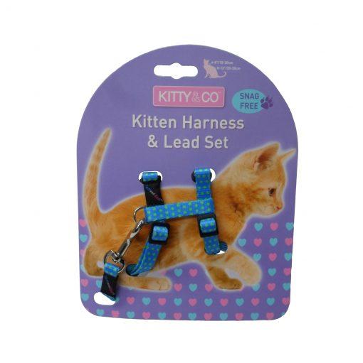 Kitty & Co Blue Spotty Kitten Harness & Lead Set