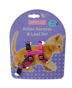 Kitty & Co Pink Spotty Kitten Harness & Lead Set
