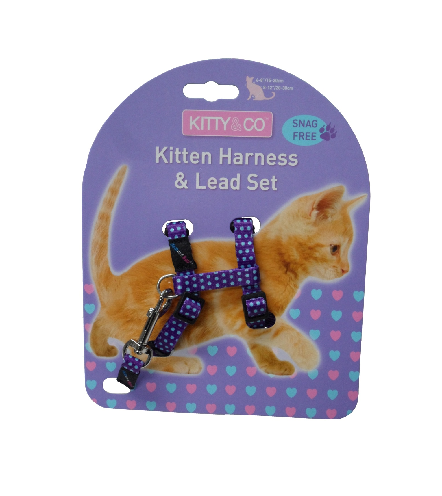 Kitty & Co Purple Spotty Kitten Harness & Lead Set