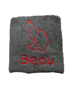 Charcoal Grey Personalised Cat Towel