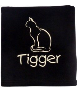 Personalised Cat Blanket Black