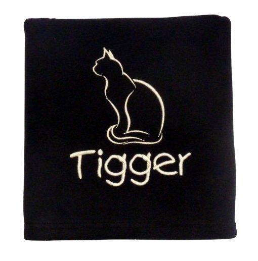 Personalised Cat Blanket Black