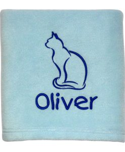 Blue Personalised Cat Blanket