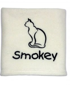 Personalised Fleece Cat Blanket Ivory