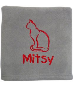Light Grey Personalised Cat Blanket Fleece