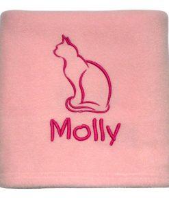 Pink Personalised Cat Blanket