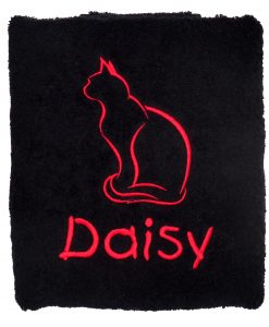 Personalised Cat Towel Black
