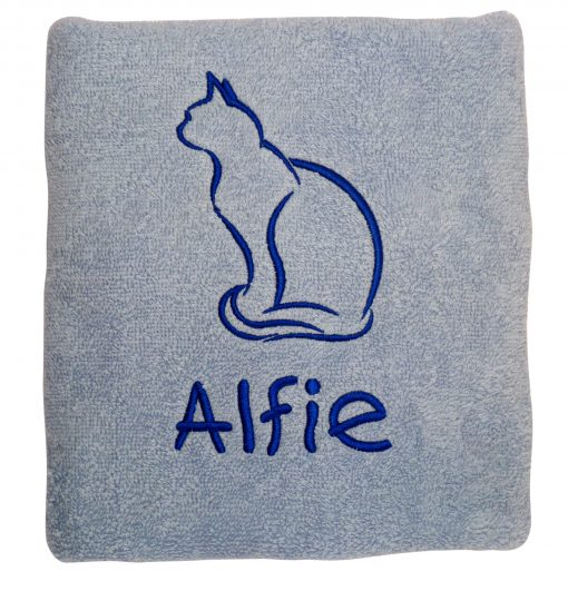 Blue Personalised Cat Towel