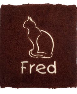 Personalised Cat Towel in Chocolate