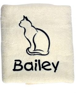 Cream Personalised Cat Towel
