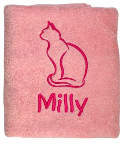 Pink Personalised Cat Towel