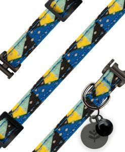 Blue Geometric Cat Collar