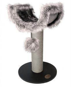 Abode Luxe Fur & Wood Scratching Den