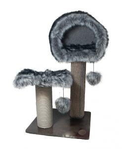 Abode Luxe Fur & Wood Den & Cat Scratching Post