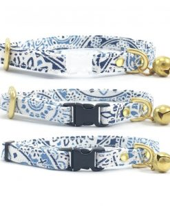 Blue & White Patterned Breakaway Safety Cat Collar With Solid Brass Bell