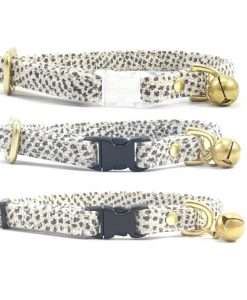Grey Polka Dot Breakaway Safety Cat Collar With Solid Brass Bell