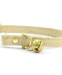 Pastel Yellow Vegan Cork 'Leather' Breakaway Safety Cat Collar With Solid Brass Bell