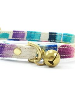 Multicoloured Breakaway Safety Cat Collar With Solid Brass Bell