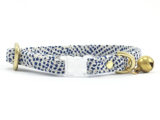 Blue Polka Dot Breakaway Safety Cat Collar With Solid Brass Bell