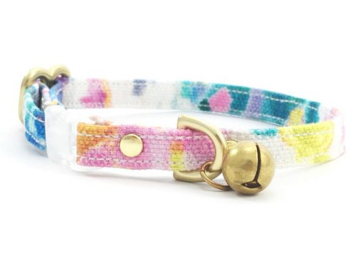 Floral Pink Breakaway Safety Cat Collar With Solid Brass Bell