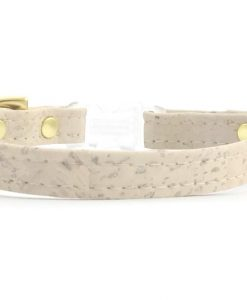 Ivory White Vegan Cork 'Leather' Breakaway Safety Cat Collar With Solid Brass Bell