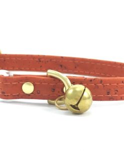 Orange Vegan Cork 'Leather' Breakaway Safety Cat Collar With Solid Brass Bell