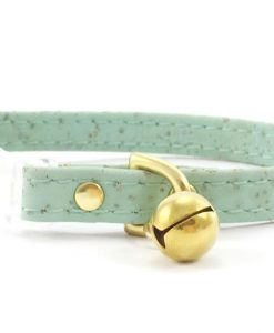Pastel Mint Green Vegan Cork 'Leather' Breakaway Safety Cat Collar With Solid Brass Bell