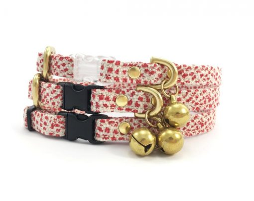 Red Polka Dot Christmas Breakaway Safety Cat Collar With Solid Brass Bell